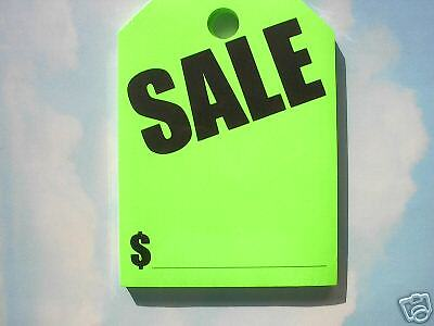CAR DEALER AUCTION 300 HANGING REAR VIEW MIRROR TAGS CARDS SALE Green