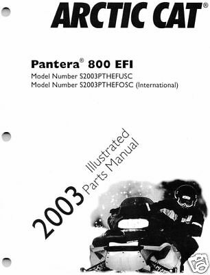 2003 arctic cat pantera 800 ef snowmobile parts manual
