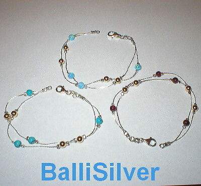 3 pcs Silver GEMSTONE & GOLD FILLED Beads BRACELETS Lot